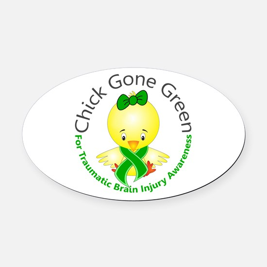 Chick Gone Green 5 TBI Oval Car Magnet