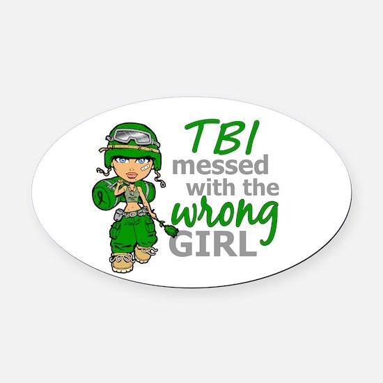 Combat Girl TBI Oval Car Magnet