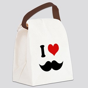 I Heart I Love Black Mustaches Canvas Lunch Bag