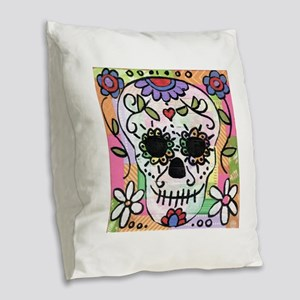 dia de los muertos art Burlap Throw Pillow