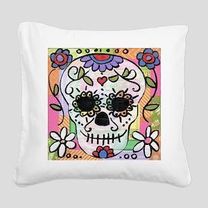 dia de los muertos art Square Canvas Pillow