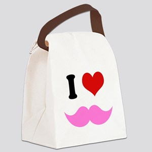 I Heart I Love Pink Mustache Canvas Lunch Bag