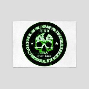 zombies green beware emblem 5'x7'Area Rug