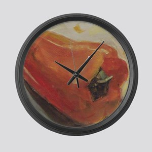 Red Pepper Chili Kitchen Recipe Large Wall Clock