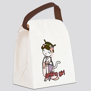 Cherry Blossom Geisha Kitty Canvas Lunch Bag
