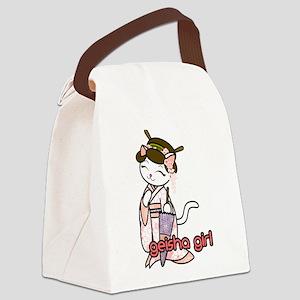 Cherry Blossom Geisha Kitty Canvas Lunch Bag