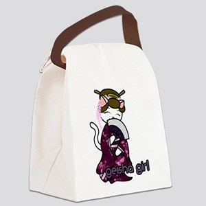Dancing Geisha Kitty Canvas Lunch Bag