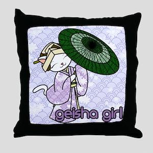 Rainy Day Geisha Kitty Throw Pillow