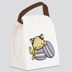 Macaron Kitty Canvas Lunch Bag