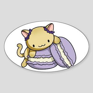 Macaron Kitty Sticker (Oval)
