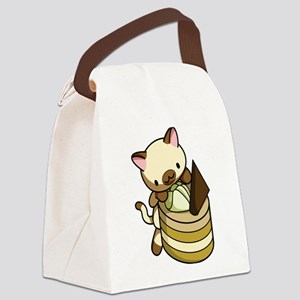 Cannelle Apple Kitty Canvas Lunch Bag