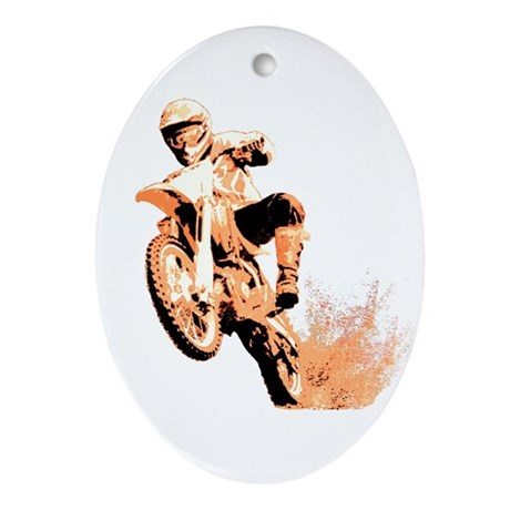 Orange dirtbike Oval Ornament