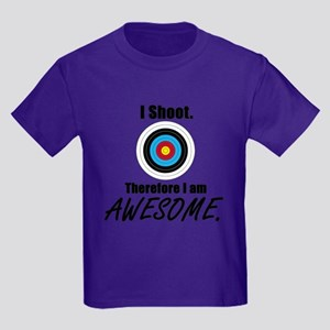 I Shoot Therefore Im Awesome Kids Dark T-Shirt