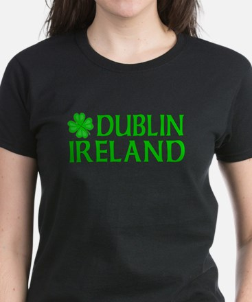 Dublin, Ireland Shamrock Women's Dark T-Shirt