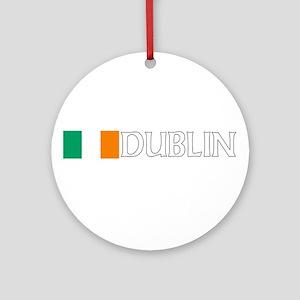 Dublin, Ireland Flag (Dark) Ornament (Round)