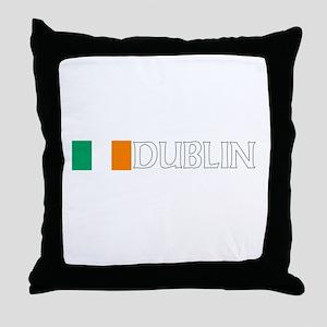 Dublin, Ireland Flag (Dark) Throw Pillow