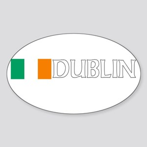 Dublin, Ireland Flag (Dark) Oval Sticker