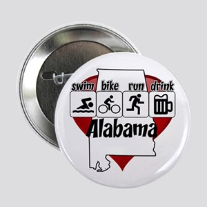 """Alabama Swim Bike Run Drink 2.25"""" Button"""