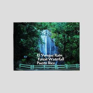 El Yunque waterfall 5'x7'Area Rug