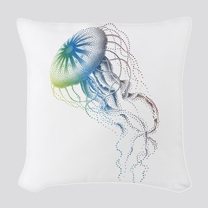 colorful jellyfish Woven Throw Pillow