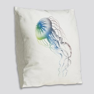 colorful jellyfish Burlap Throw Pillow