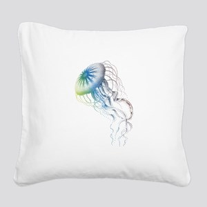 colorful jellyfish Square Canvas Pillow