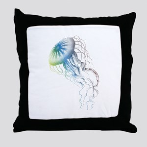 colorful jellyfish Throw Pillow