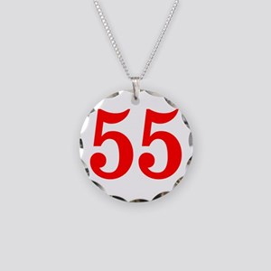 RED #55 Necklace Circle Charm