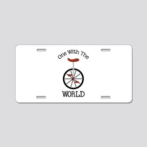 One With The World Aluminum License Plate