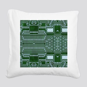 Green Geek Motherboard Circui Square Canvas Pillow