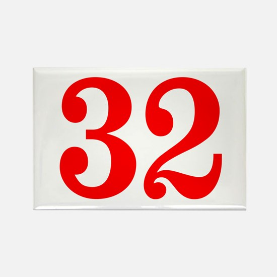 RED #32 Rectangle Magnet