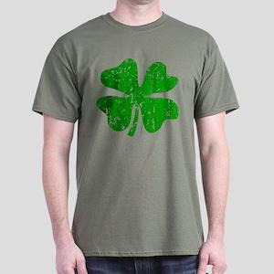 Green Distressed Shamrock Dark T-Shirt
