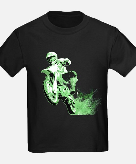 Green Dirtbike Wheeling in Mud T