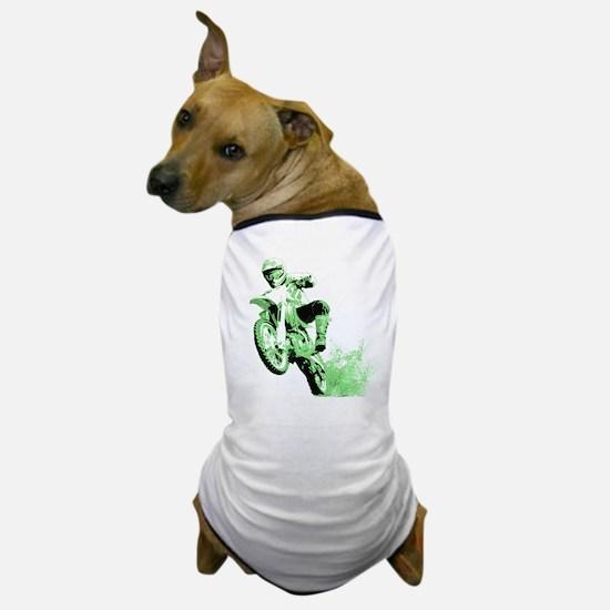 Green Dirtbike Wheeling in Mud Dog T-Shirt
