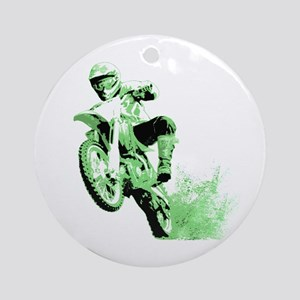 Green Dirtbike Wheeling in Mud Ornament (Round)