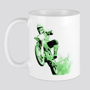 Green Dirtbike Wheeling in Mud Mug