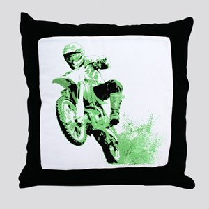 Green Dirtbike Wheeling in Mud Throw Pillow