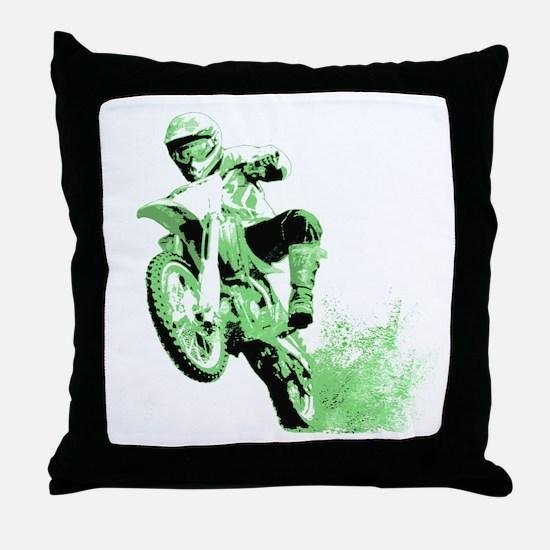 Green Dirtbike Wheeling in Mud Throw Pillow