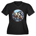 Women's Plus Size V-Neck Dark Polar Bear Art T-Shi