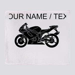 Custom Black Crotch Rocket Throw Blanket