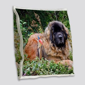 Leonberger Dog Burlap Throw Pillow
