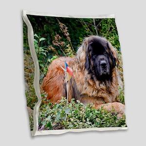 Leonberger Dog Burlap Throw Pillow