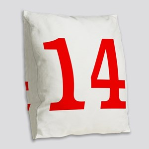 RED #13 Burlap Throw Pillow