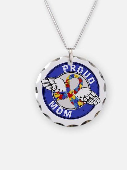 Proud Mom 3 Blue Autism Necklace