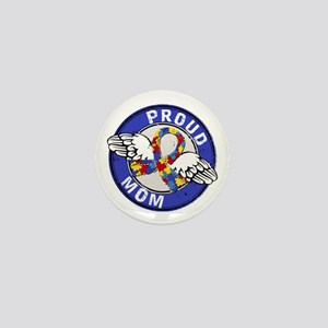 Proud Mom 3 Blue Autism Mini Button