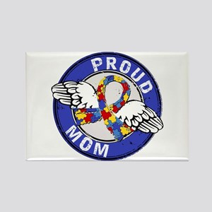 Proud Mom 3 Blue Autism Rectangle Magnet
