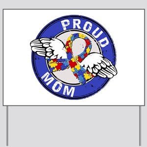Proud Mom 3 Blue Autism Yard Sign