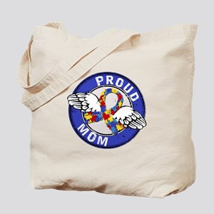 Proud Mom 3 Blue Autism Tote Bag