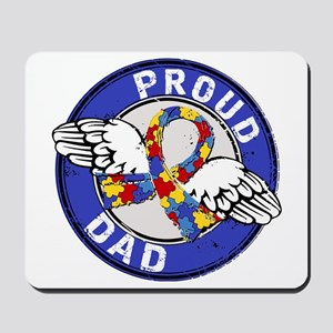 Proud Dad 3 Blue Autism Mousepad