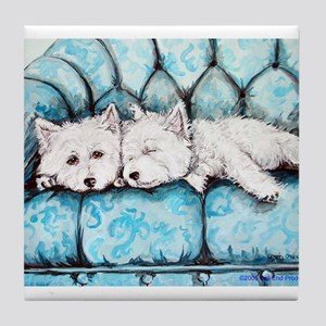 Westie Couch Potatoes Tile Coaster